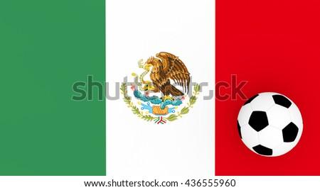 3d render Mexico football with a flag an a soccer ball.  - stock photo