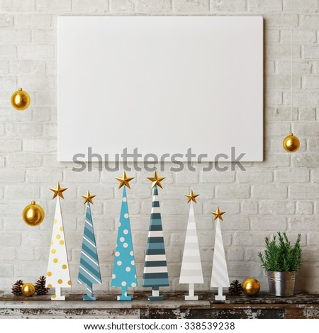 3d render mock up poster, hipster christmas tree concept - stock photo