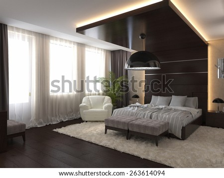 3d render modern bedroom in a private house - stock photo