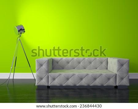 3D render modern interior - stock photo