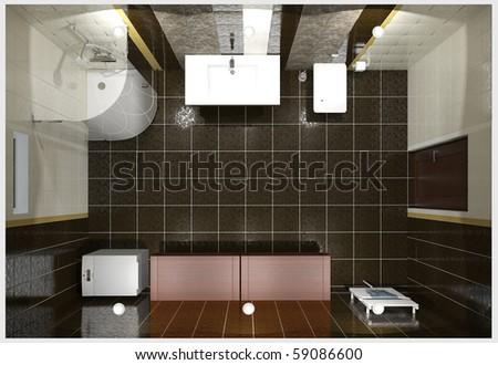 3D render modern interior of bathroom - stock photo