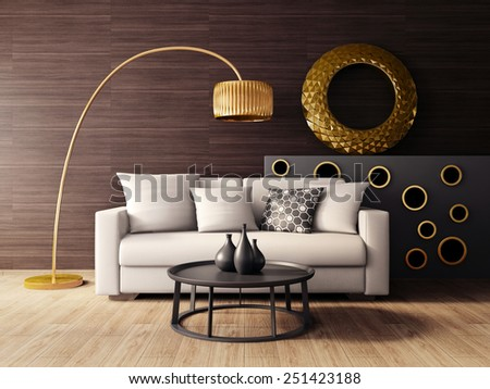 3d render. modern interior room with a beautiful furniture. - stock photo