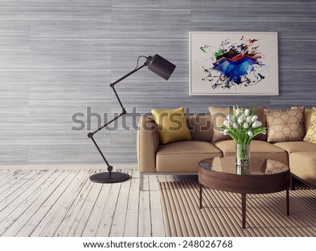 3d render. modern interior room with beautiful furniture. - stock photo