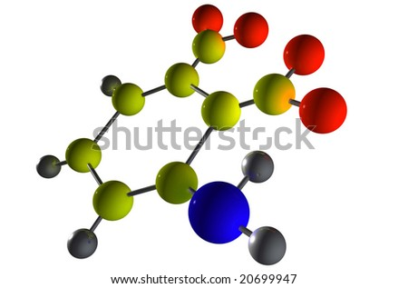 3D Render Molecule - stock photo