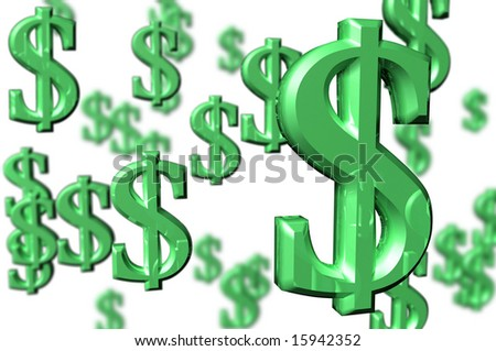 3D Render Money Dollar Signs - stock photo