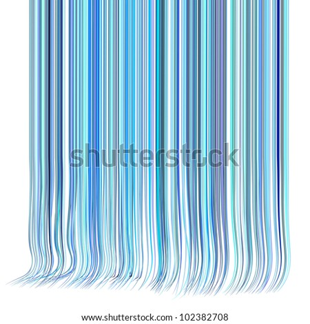3d render multiple wavy hair lines in different blue purple on white - stock photo