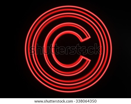 3d render neon copyright icon isolated on black background - stock photo
