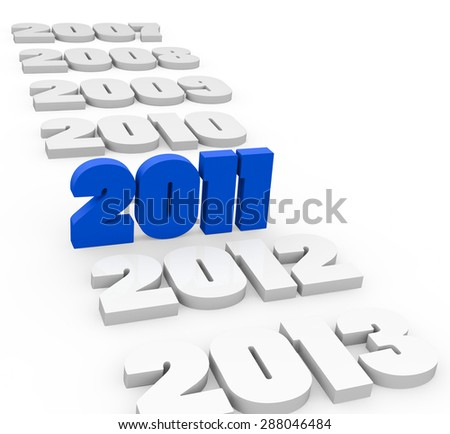 3d render New Year 2011 and next and past years on a white background.  - stock photo