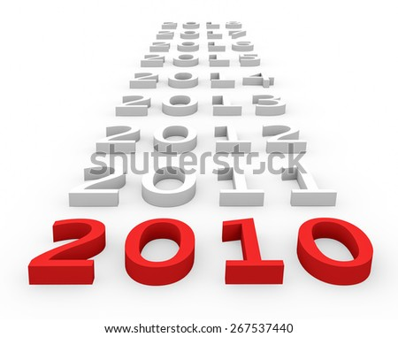 3d render New Year 2010 and next years on a white background.  - stock photo