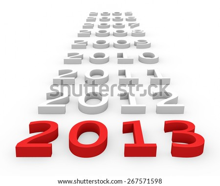 3d render New Year 2013 and next years on a white background.  - stock photo