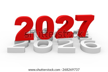 3d render New Year 2027 and next years on a white background.