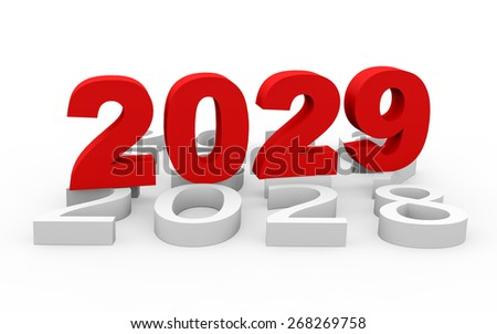 3d render New Year 2029 and next years on a white background.