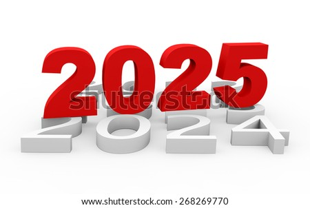 3d render New Year 2025 and next years on a white background.