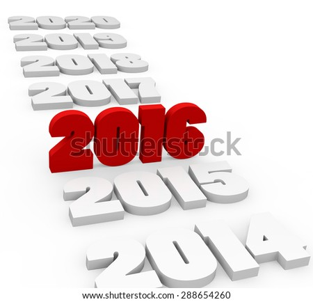 3d render New Year 2016 and past and next years on a white background.