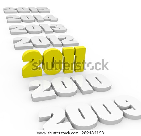 3d render New Year 2011 and past and next years on a white background.  - stock photo