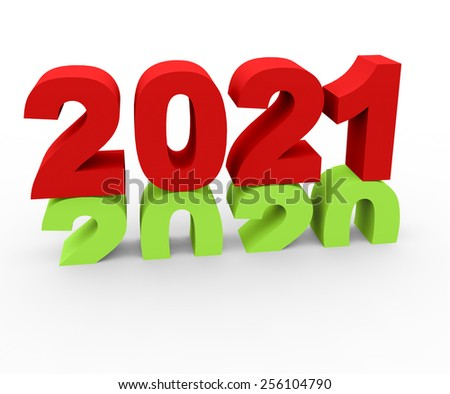3d render New Year 2021 and past year 2020 on a white background.