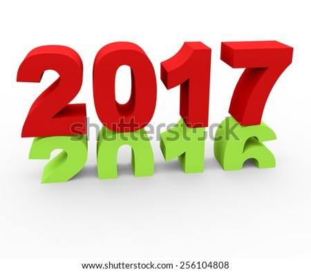 3d render New Year 2017 and past year 2016 on a white background.  - stock photo