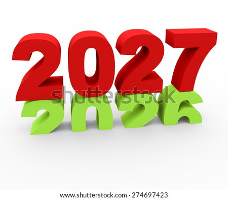 3d render New Year 2027 and past year 2026 on a white background.
