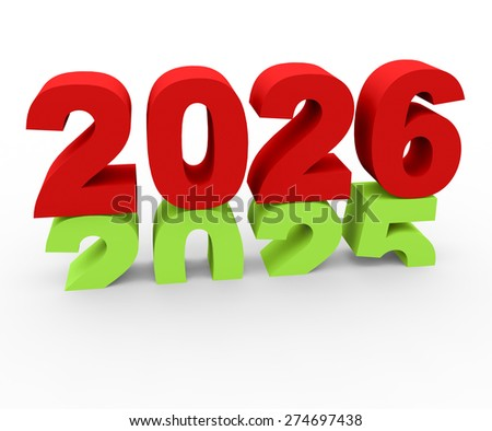 3d render New Year 2026 and past year 2025 on a white background.