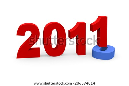 3d render New Year 2011 and past year 2010 on a white background.  - stock photo