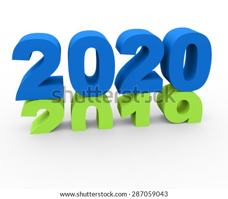 3d render New Year 2020 and past year 2019 on a white background.