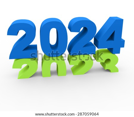 3d render New Year 2024 and past year 2023 on a white background.