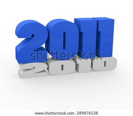 3d render New Year 2011 and past year on a white background.  - stock photo
