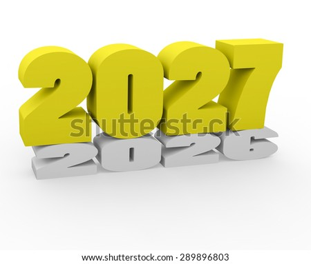 3d render New Year 2027 and past year on a white background.