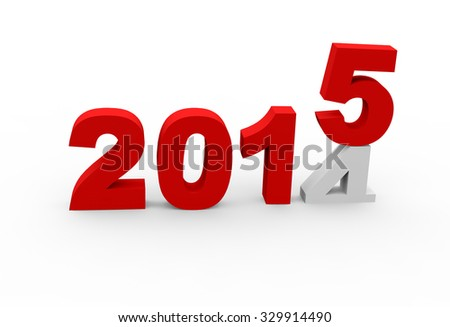 3d render New Year 2015 and past year 2014 on a white background.