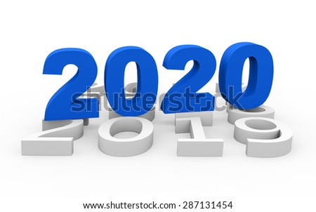 3d render New Year 2020 and past years on a white background.