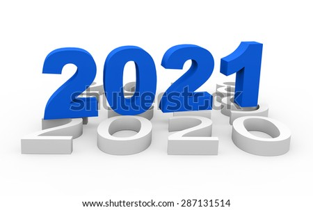 3d render New Year 2021 and past years on a white background.