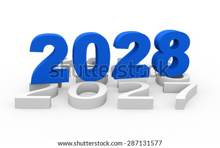 3d render New Year 2028 and past years on a white background.