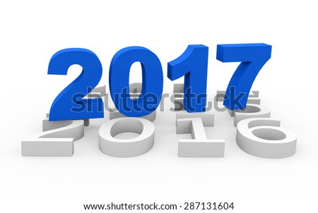 3d render New Year 2017 and past years on a white background.