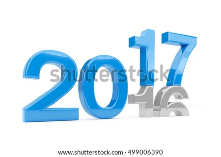 3d render - new year 2017 change concept on a white background.