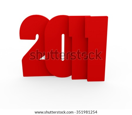 3d render New Year 2011 on a white background.  - stock photo