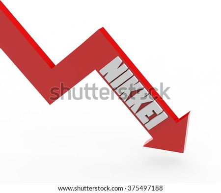 3d render Nikkei stock market index in a red arrow on a white background.  - stock photo