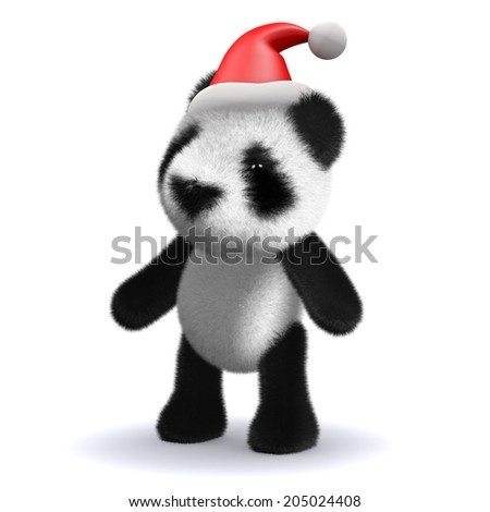 3d render of a baby panda bear wearing a Christmas Santa Claus hat