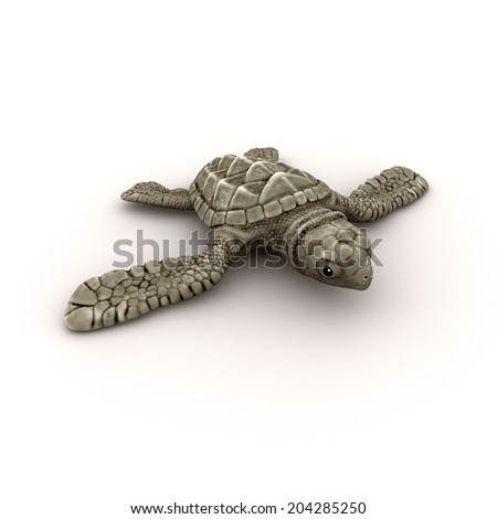3d render of a baby sea turtle