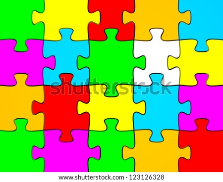 3d Render of a Background of Colorful Puzzle Pieces