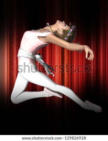 3d render of a ballet dancer performing on stage. - stock photo