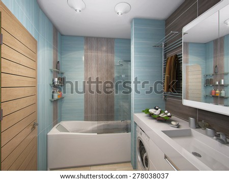 3D render of a bathroom in turquoise tones