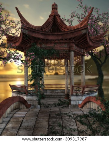 3D render of a beautiful Japanese pagoda overlooking the ocean during a lovely sunset afternoon.  Cherry tree's in full blossom stand on each side with green vines crawling up the posts.