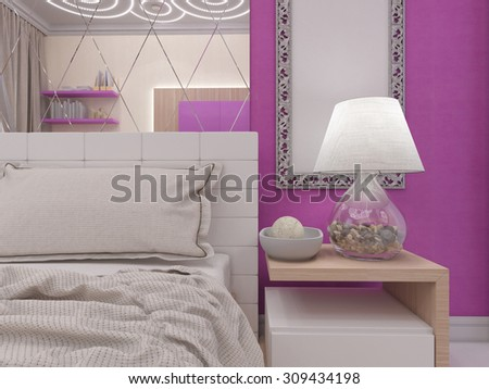 3D render of a bedroom for the young girl