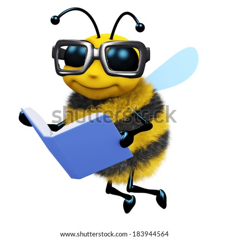 3d render of a bee reading a book - stock photo