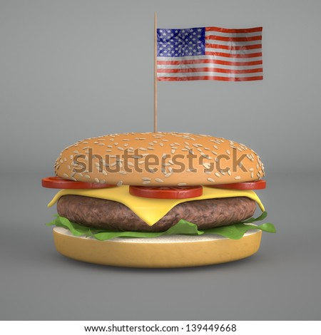 3d render of a Big Hamburger with the American flag - stock photo