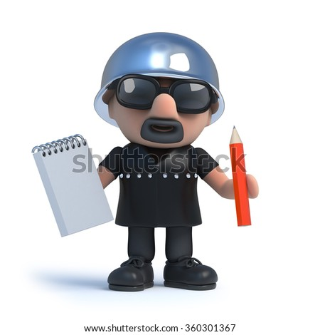 3d render of a biker holding a notepad and pencil.