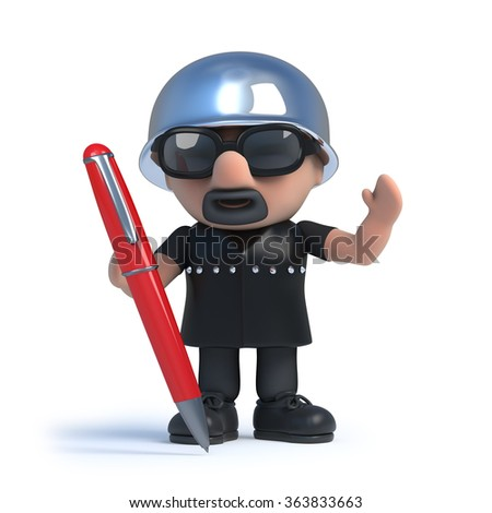 3d render of a biker holding a red pen.