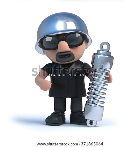 3d render of a biker holding a shock absorber suspension unit.