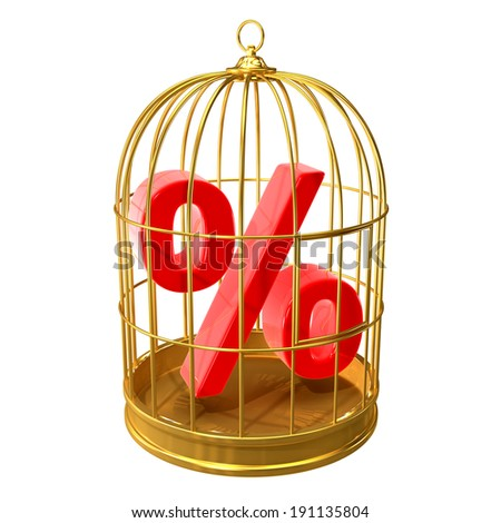 3d render of a bird cage with a percent symbol inside - stock photo
