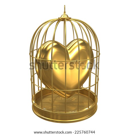 3d render of a birdcage containing a golden heart - stock photo
